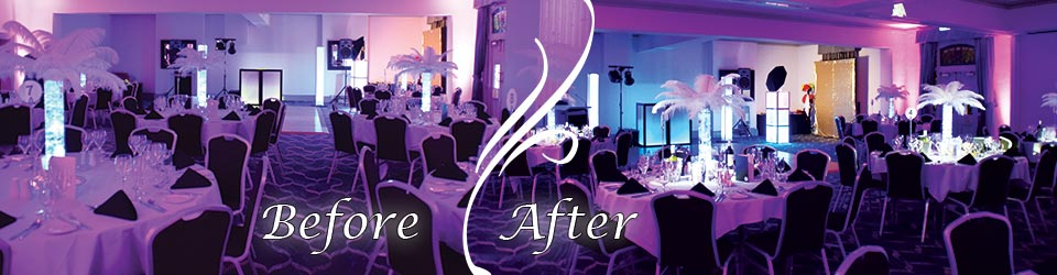 Lumin8 Events Pinspot Lighting - before and after